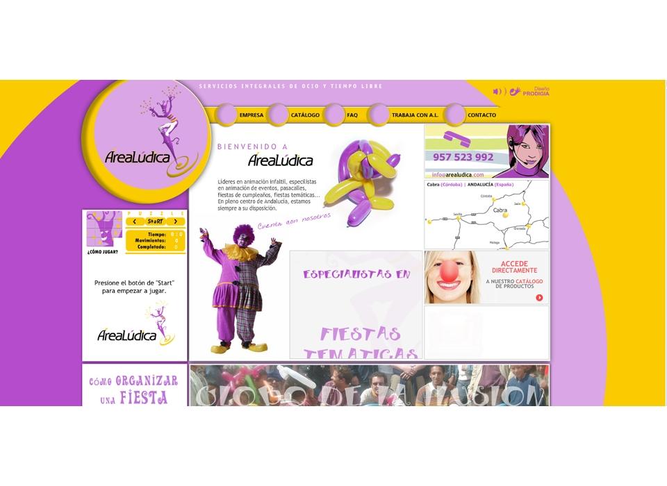 Página principal - Sitio Web Área Lúdica