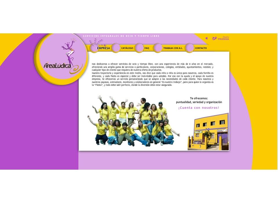 "Sección ""Empresa"" - Sitio Web Área Lúdica"