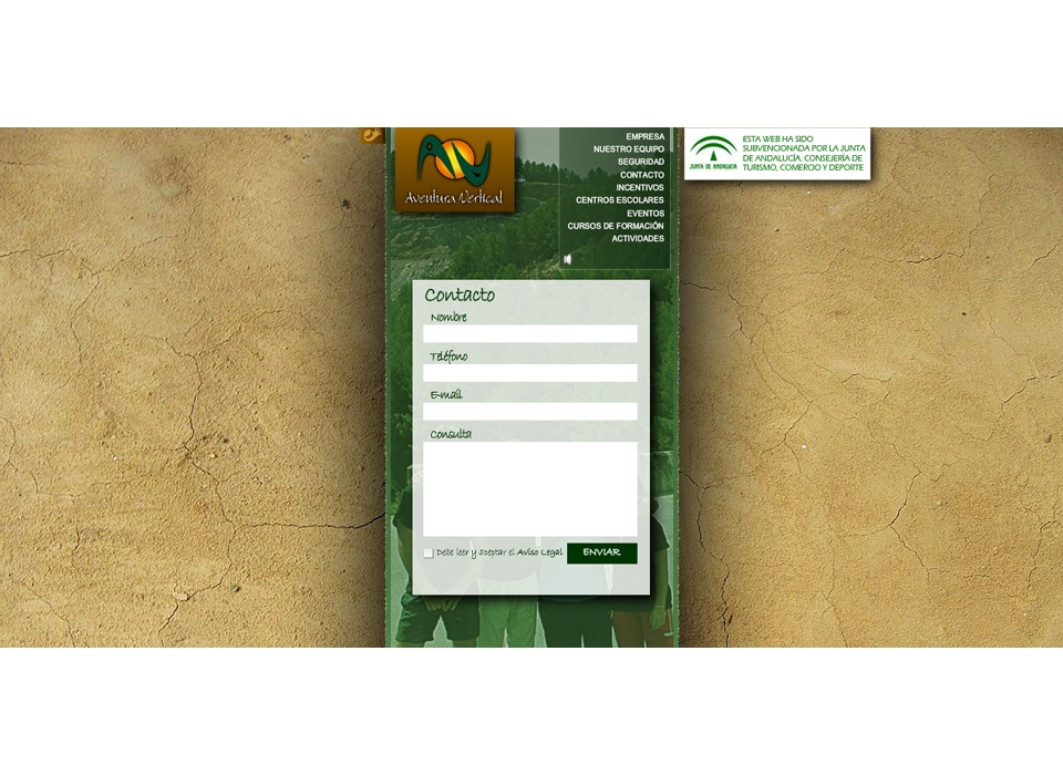 """Sección """"Contacto"""" Sitio Web - Aventura Vertical"""