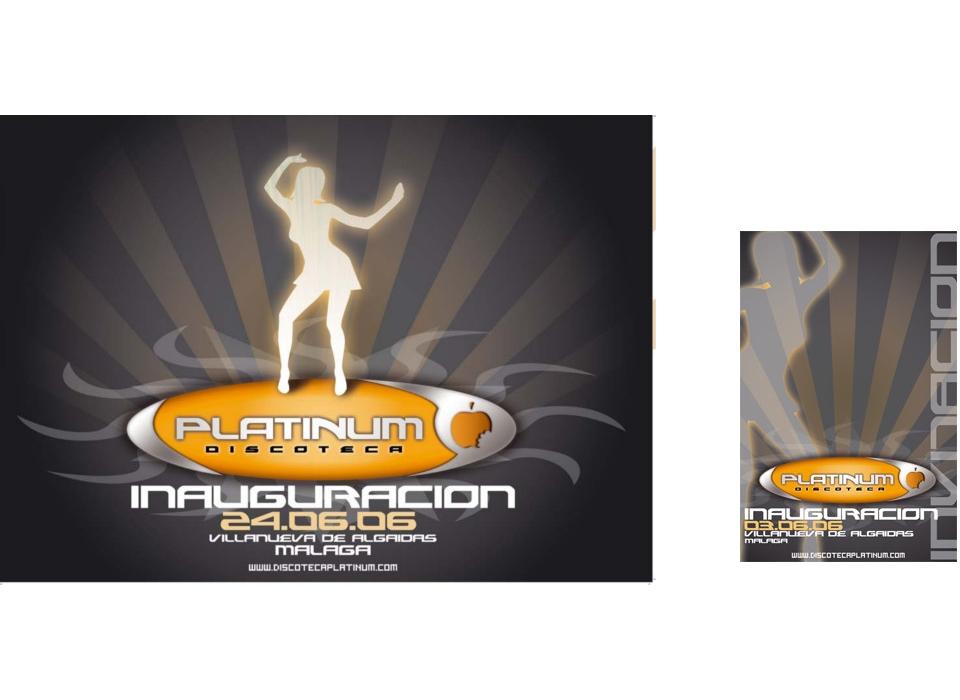 Cartel inauguración e invitación de Discoteca Platinum (Málaga)