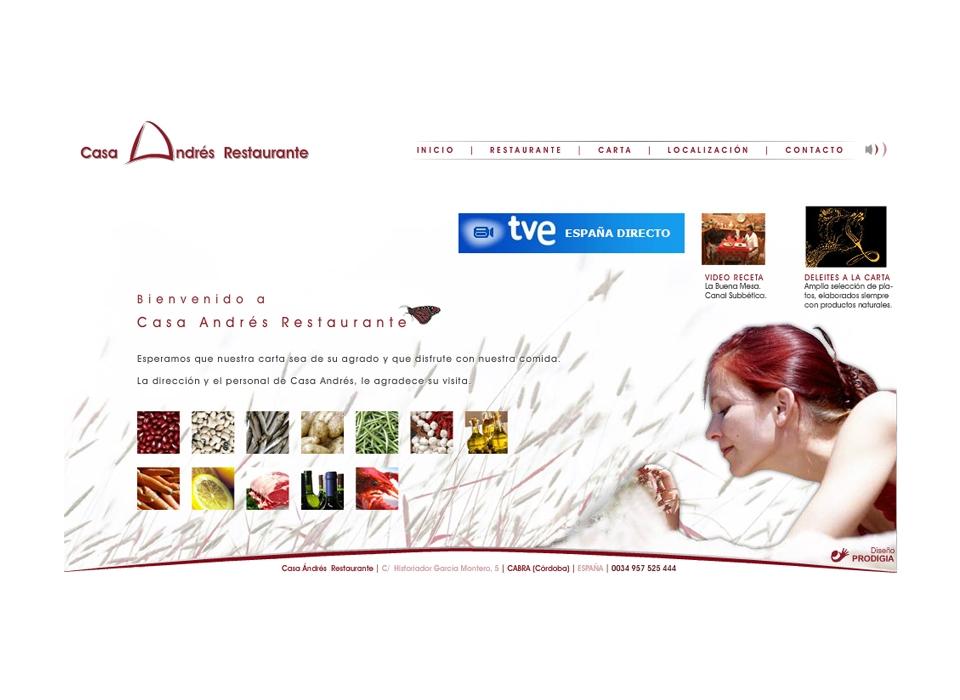 Página principal - Sitio Web Casa Andrés