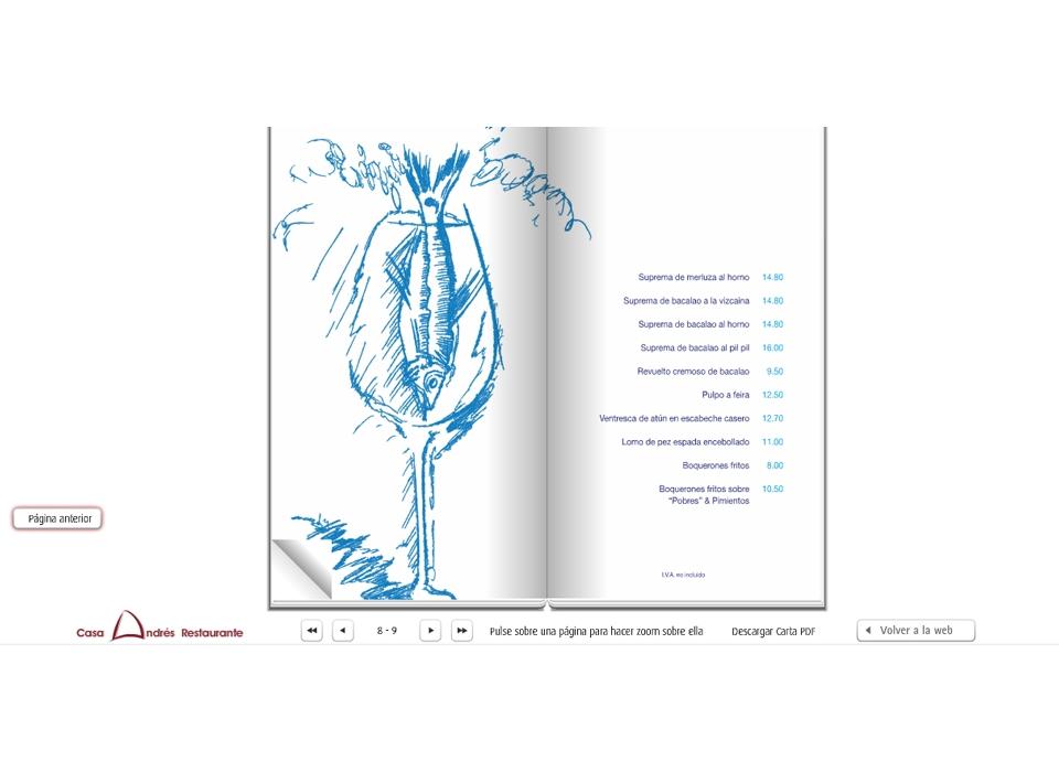 Carta digital - Sitio Web Casa Andrés