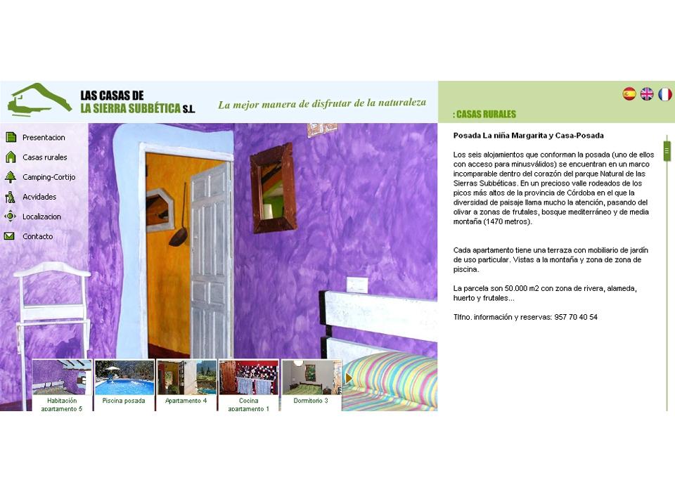 """Sección """"Casas Rurales""""  - Sitio Web Casas de la Subbética"""