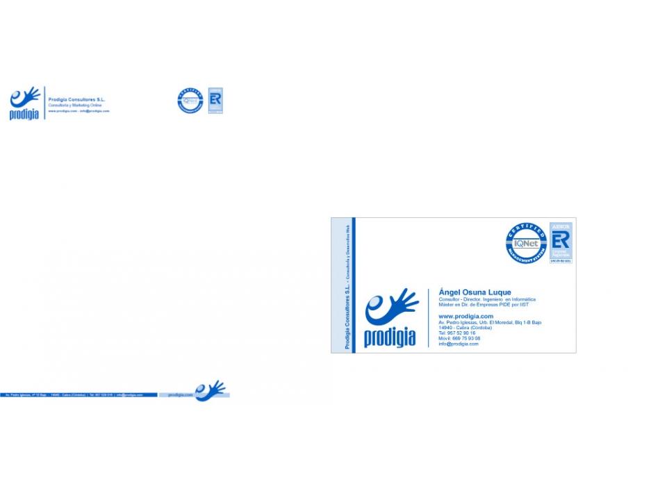 Diseño de Folio y tarjeta corporativos de Prodigia