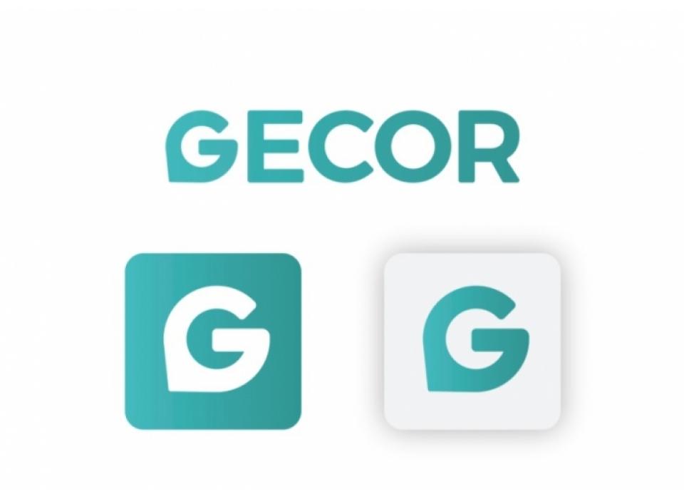 Gecor logotipo en diferentes versiones