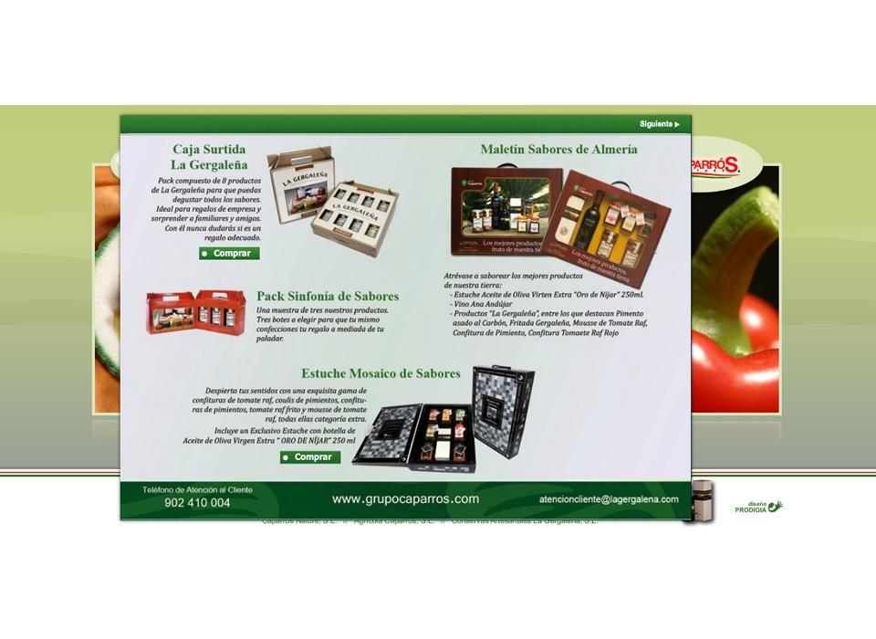 """Sección """"Regalos con sabor """" - Sitio web Grupo Caparros"""