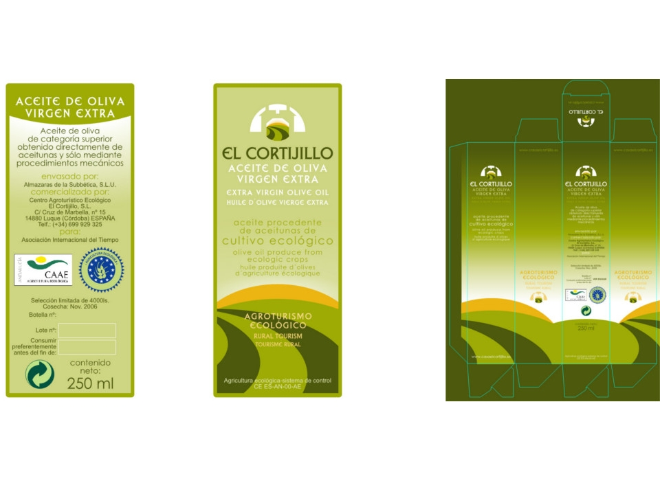 Packaging botella de aciete el cortijillo