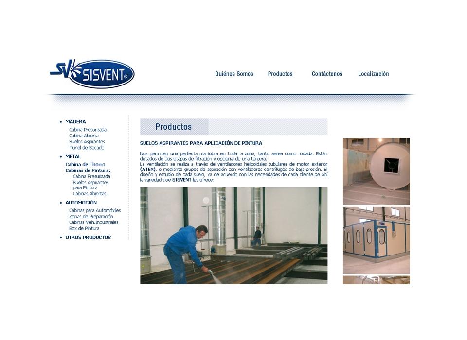"""Sección """"Productos""""- Sitio web Sisvent"""