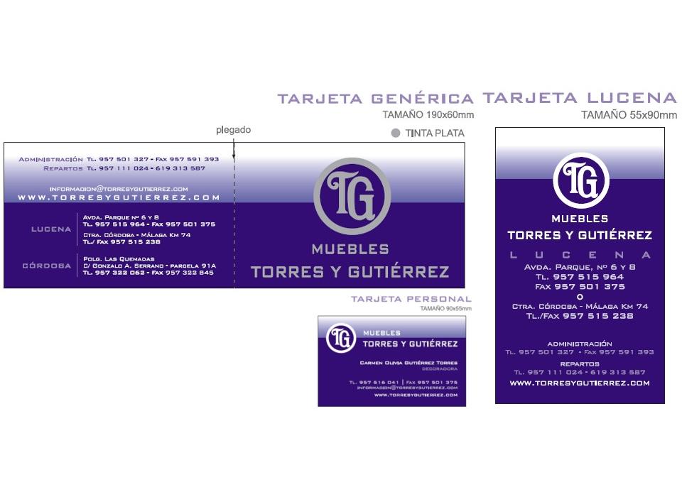 Tarjetas muebles Torres y Gutiérrez