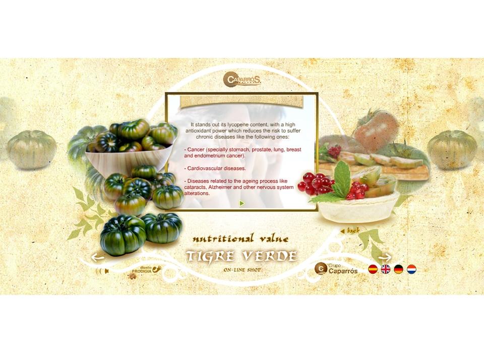 "Sección ""Valor nutricional"" (Idioma Ingles) - Sitio Web Tigre Verde"