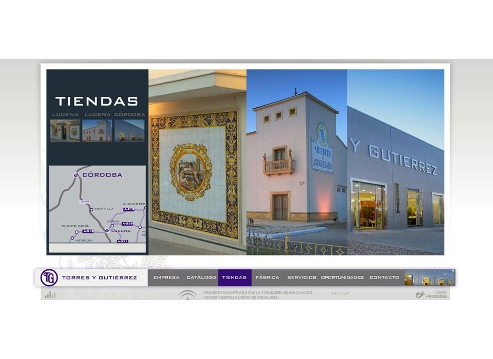 """Sección """"Tiendas"""" - Sitio web Torres y Gutierrez"""