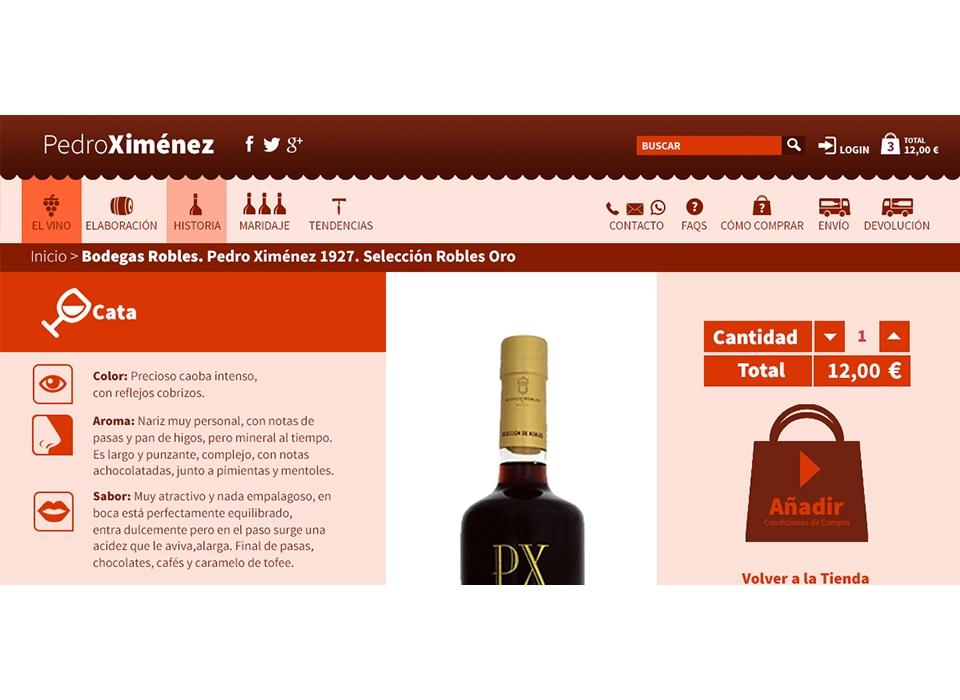 producto pedro ximenez vino caracteristicas botella